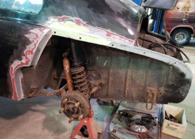 Drivers rear fender with reconstructed spring tower and rust repair